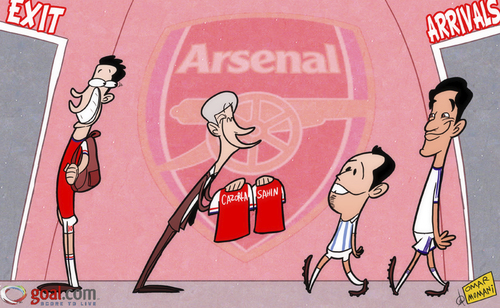 Cartoon: Van Persie glee (medium) by omomani tagged arsenal,malaga,nuri,sahin,real,madrid,santi,cazorla,van,persie,wenger