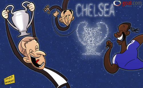 Cartoon: Victory written in the stars (medium) by omomani tagged abramovich,champions,league,chelsea,di,matteo,drogba
