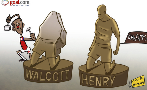 Cartoon: Walcott looks to carve out (medium) by omomani tagged arsenal,henry,theo,walcott