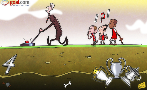 Cartoon: Wenger search for silverware (medium) by omomani tagged arsenal,champions,league,fa,cup,jack,wilshere,metal,detector,premier,santi,cazorla,theo,walcott,wenger