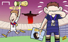 Cartoon: Messi in tears as Gotze wins (small) by omomani tagged argentina,diego,maradona,germany,gotze,messi,world,cup,2014