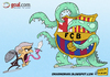 Cartoon: Mourinho vs Barcelona (small) by omomani tagged mourinho barcelona real madrid cartoon football la liga spain portugal