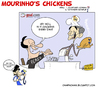 Cartoon: Mourinhos Chickens (small) by omomani tagged mourinho,perez,raul,real,madrid,shalke,inter,tottenham,lyon,champions,league