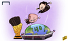Cartoon: Platini and Blatter cram the WC (small) by omomani tagged blatter,fifa,michel,platini,russia,world,cup