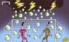 Cartoon: Raining goals (small) by omomani tagged buffon,confederations,cup,eiji,kawashima,italy,japan