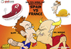 Cartoon: Spain Vs France (small) by omomani tagged del,bosque,blanc,france,spain,soccer,football,cartoon,chicken,steak