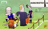 Cartoon: Van Gaal heads for Manchester U (small) by omomani tagged arjen,robben,manchester,united,netherlands,van,gaal,persie,world,cup,2014