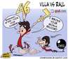 Cartoon: Villa vs Raul (small) by omomani tagged raul,gonzales,david,villa,spain,46,number,real,madrid,barcelona,del,bosque,aragones