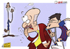 Cartoon: Villas injury and Fernando Torr (small) by omomani tagged barcelona,chelsea,del,bosque,england,euro,cup,la,liga,premier,league,spain,torres,villa