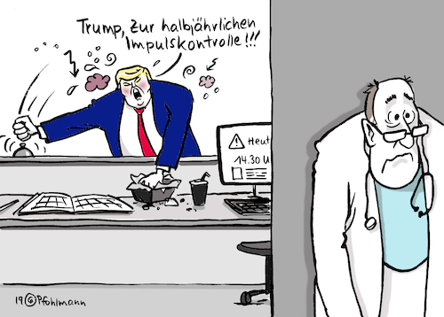Cartoon: Impulskontrolle Trump (medium) by Pfohlmann tagged 2019,trump,usa,twitter,impulsivität,impuls,syrien,türkei,nahost,außenpolitik,impeachment,narzissmus,arzt,puls,2019,trump,usa,twitter,impulsivität,impuls,syrien,türkei,nahost,außenpolitik,impeachment,narzissmus,arzt,puls