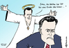 Cartoon: Santorum bleibt (small) by Pfohlmann tagged karikatur,color,farbe,2012,usa,präsidentschaftswahl,präsidentschaftskandidatur,kandidaten,republikaner,santorum,romney,kandidat,missionar,engel,heiligenschein,heiliger,gläubig,fromm,frömmler,christ,christlich,konservativ,bibel,matthäus,zitat,bibelzitat