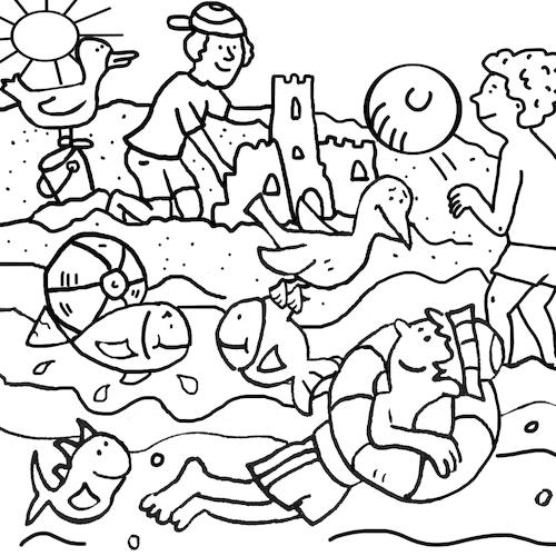 ausmalbild strandsabine voigt  sports cartoon  toonpool
