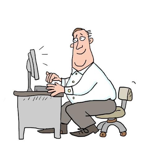 Bürotisch clipart  büro angestellter Versicherung By sabine voigt | Business Cartoon ...