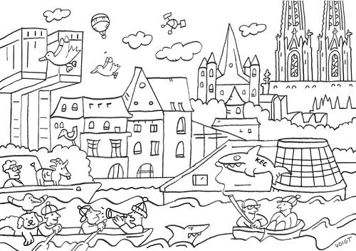 Köln Panorama Ausmalbild By sabine voigt | Media & Culture Cartoon ...