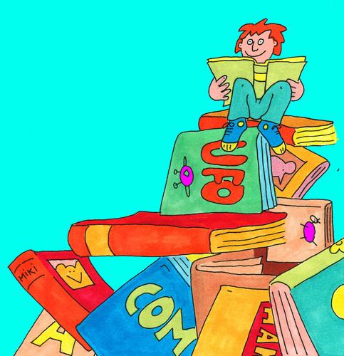 Bücherei clipart  lesen buch bücher By sabine voigt | Media & Culture Cartoon | TOONPOOL