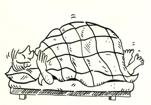 Schlafen bett by sabine voigt philosophy cartoon toonpool for Bett schlafen