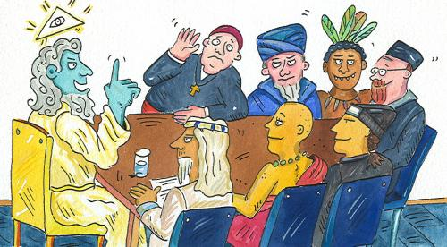 Cartoon: various religions (medium) by sabine voigt tagged religion,