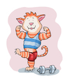 Cartoon: Muskelkater Sport (small) by sabine voigt tagged muskelkater,sport,trainieren,training,schmerzen,bodybuilding,gewichte,krafttraining,fitness,studio,kater,katze