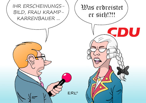 Cartoon: AKK (medium) by Erl tagged politik,cdu,annegret,kramp,karrenbauer,kommunikation,junge,generation,digital,natives,internet,social,media,erscheinungsbild,antiquiert,bevormundung,meinungsfreiheit,perücke,alter,zopf,karikatur,erl,politik,cdu,annegret,kramp,karrenbauer,kommunikation,junge,generation,digital,natives,internet,social,media,erscheinungsbild,antiquiert,bevormundung,meinungsfreiheit,perücke,alter,zopf,karikatur,erl