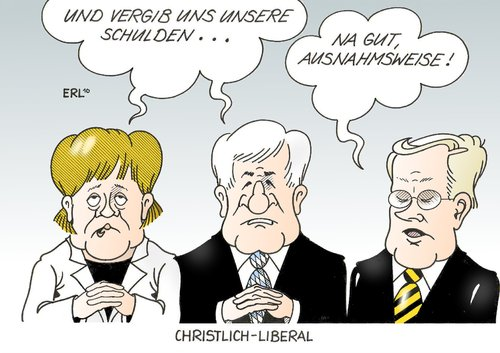 Cartoon: Christlich-Liberal (medium) by Erl tagged cdu,csu,fdp,christlich,liberal,schwarz,gelb,schulden,rekord,merkel,seehofer,westerwelle,cdu,csu,fdp,liberal,schwarz,gelb,schulden,rekord,merkel,seehofer,westerwelle