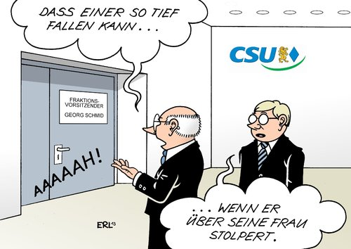 Cartoon: CSU Georg Schmid (medium) by Erl tagged schmid,georg,csu,fraktion,vorsitz,rücktritt,beschäftigung,familienmitglief,ehefrau,gehalt,steuergeld,csu,georg,schmid