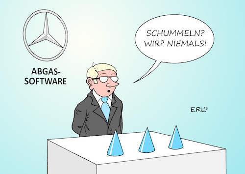 Cartoon: Daimler (medium) by Erl tagged politik,auto,autobauer,daimler,software,manipulation,schummelsoftware,betrug,abgase,abgastest,diesel,stickoxide,hütchenspieler,karikatur,erl,politik,auto,autobauer,daimler,software,manipulation,schummelsoftware,betrug,abgase,abgastest,diesel,stickoxide,hütchenspieler,karikatur,erl