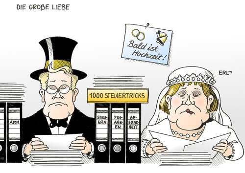 Cartoon die große liebe medium by erl tagged union cdu csu fdp