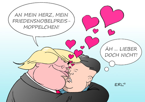 Cartoon: Kim sellt sich das Treffen vor (medium) by Erl tagged politik,usa,präsident,donald,trump,nordkorea,diktator,kim,jong,un,abrüstung,atomwaffen,friedensnobelpreis,rückzieher,bedenken,manöver,südkorea,diplomatie,karikatur,erl,politik,usa,präsident,donald,trump,nordkorea,diktator,kim,jong,un,abrüstung,atomwaffen,friedensnobelpreis,rückzieher,bedenken,manöver,südkorea,diplomatie,karikatur,erl