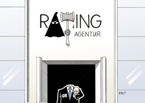Cartoon: Rating (medium) by Erl tagged ratingagentur,rating,griechenland,hinrichtung,abwertung,anleihe,ramsch,ratingagentur,rating,griechenland,hinrichtung,abwertung,anleihe,ramsch