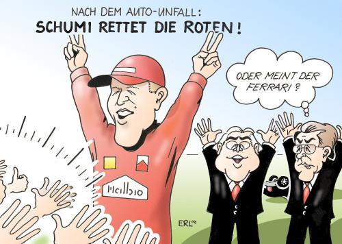 Cartoon: Schumi (medium) by Erl tagged michael,schumacher,ferrari,rot,rettung,auto,unfall,dienstwagen,spd,ulla,schmidt,frank,walter,steinmeier,franz,müntefering,wahlkampf,michael schumacher,ferrari,rot,rettung,auto,autos,unfall,dienstwagen,spd,ulla schmidt,frank walter steinmeier,wahl,wahlen,franz müntefering,wahlkampf,michael,schumacher,ulla,schmidt,frank,walter,steinmeier,franz,müntefering