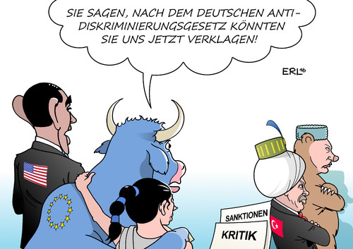 Cartoon: Antidiskriminierungsgesetz (medium) by Erl tagged erl,karikatur,jahre,zehn,10,deutschland,antidiskriminierungsgesetz,diskriminierung,bär,sultan,stier,europa,obama,krim,annexion,sanktionen,putin,russland,besuch,westen,usa,eu,kritik,verhaftung,säuberung,erdogan,präsident,militärputsch,türkei,türkei,militärputsch,präsident,erdogan,säuberung,verhaftung,kritik,eu,usa,westen,besuch,russland,putin,sanktionen,annexion,krim,obama,europa,stier,sultan,bär,diskriminierung,antidiskriminierungsgesetz,deutschland,10,zehn,jahre,karikatur,erl
