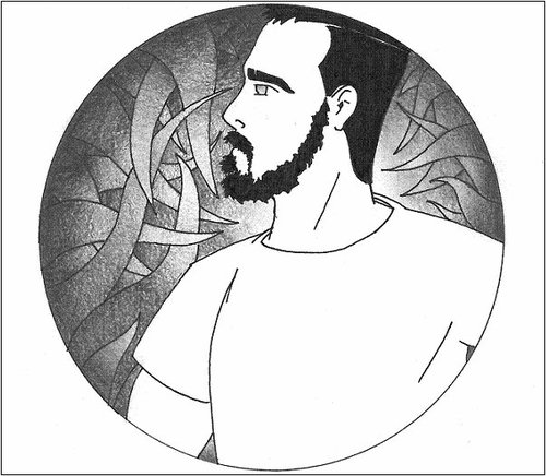 Cartoon: AutoRetrato (medium) by robobenito tagged self,portrait,autoretrato,line,pencil,pen,ink,tentacles,beard,moustache,hair,tshirt,man,thought,black,white,illustration,profile