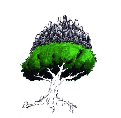 Cartoon: Civilization Tree (medium) by robobenito tagged tree,civilization,nature,science,urban,city,drawing,pen,pencil,green,ecology,technology,growth,planet,dependence,danger,interdependent,reliant,trust,coexistence,necessity,development,critical