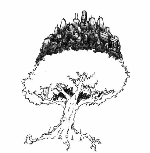 Cartoon: Civilization Tree BW (medium) by robobenito tagged tree,civilization,buildings,giant,city,town,urban,ecology,nature,banzai,earth,ecological,balance,support,planet,life,green,community,communal,pen,pencil,ink,subsistence,science,drawing,technology