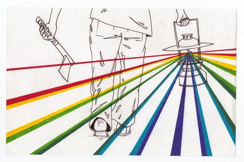 Cartoon: Lantern and Axe (medium) by robobenito tagged lantern,axe,spectrum,rainbow,light,walking,pen,pencil,color,ink,marching,decision,growth,leadership,adult,child,back,forward,leading,leader