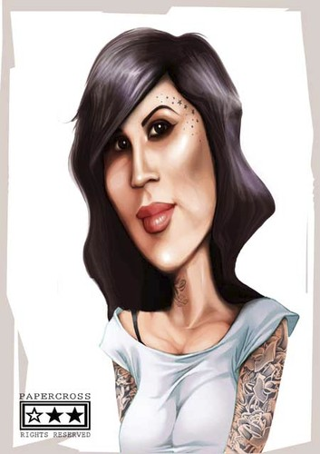 Cartoon: kat von d (medium) by billfy tagged tattoo,artist,sexy,famous,people,caricature