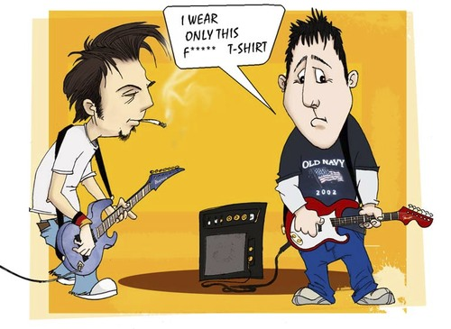 Cartoon: Me and Jeff (medium) by billfy tagged friend,me,my,rock,band,cartoon,playng,guitar
