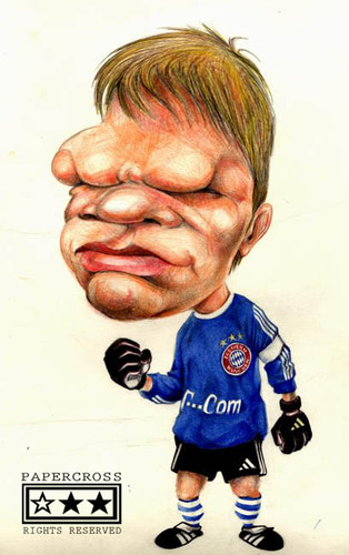 Cartoon: Oliver Kahn (medium) by billfy tagged footballer,goalkeeper,bayern,munchen,ok,germany,bundesliga