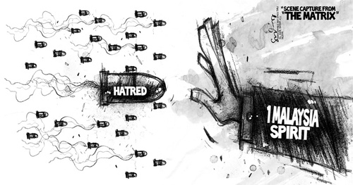Cartoon: HOLD THE HATRED (medium) by mystudio69 tagged cartoon