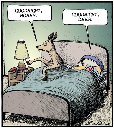 Cartoon: Goodnight Honey (medium) by Tony Zuvela tagged goodnight,honey,deer,doe,dear,food,animal,bedtime,lights,out,go,to,sleep,married,couple