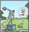 Cartoon: Dumb Doggie (small) by Tony Zuvela tagged dog,frisbee,discus,thrower,statue,waiting,dumb,unaware,doesnt,realise,throw,disc