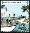 Cartoon: Luxury (small) by Tony Zuvela tagged how,the,other,half,lives,life,rich,wealthy,luxury,extravagance,comfort,halves,in,two,holidays,trip,vacation,beach,island,resort,split,separated