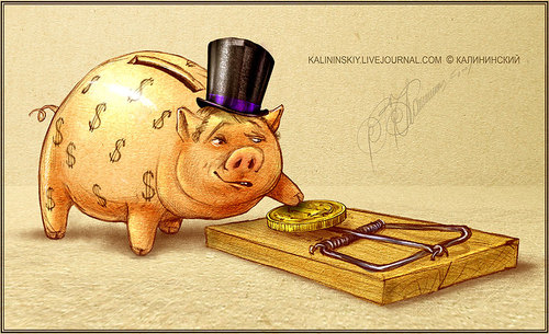 Cartoon: GREED (medium) by Kalininskiy tagged cartoon