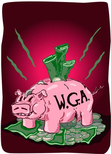 Cartoon: Writers Guild of America Piggy (medium) by John Bent tagged corruption,writers,hollywood,film,greed,piggy,bank,