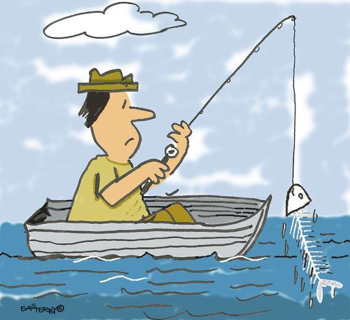 Cartoon fisherman fishing - photo#21