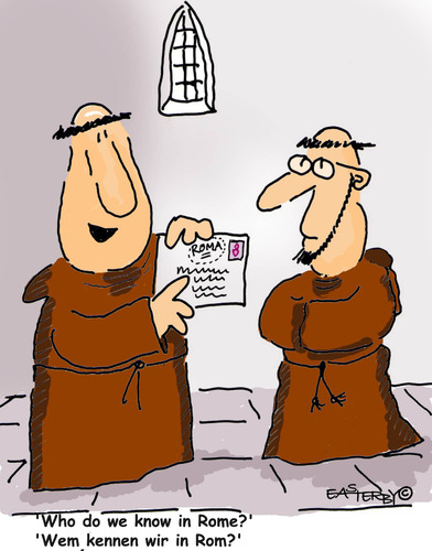 Cartoon: HOLY ORDERS 10 (medium) by EASTERBY tagged letters,believing,faith,halos,monks