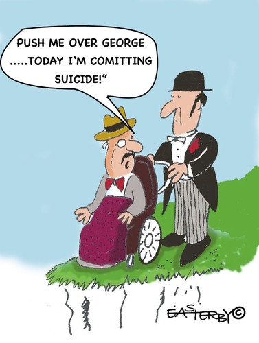 Cartoon: SUICIDE (medium) by EASTERBY tagged old,age,suicide,dying,sterben,tod,selbsmord,existenz,alter,senioren,mord
