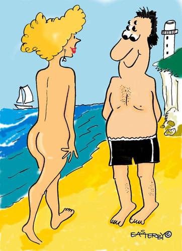At beach cartoon the Naked