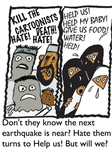 Cartoon: When will they ever learn (medium) by EASTERBY tagged hate,love,help,aid