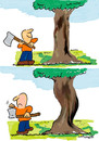 Cartoon: BLUNT AXE (small) by EASTERBY tagged handwerker,lumber,jack,nature,trees